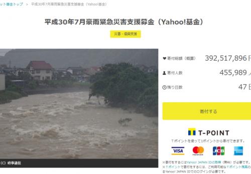 Yahoo!基金 平成30年7月豪雨緊急災害支援募金